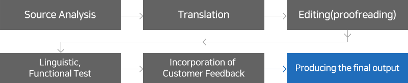 Source Analysis→Translation→Editing(proofreading)→Linguistic,Functional Test→Incorporation of Customer Feedback→Producing the final output